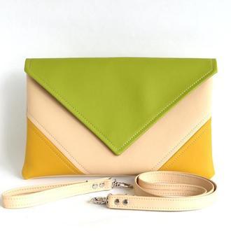 Зелено желтый клатч / Желто зеленая сумка