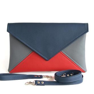 Красно синий клатч - Сине красная сумка