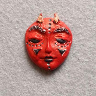 Суккуб. Кабошон из полимерной глины с авторской росписью акриловыми красками