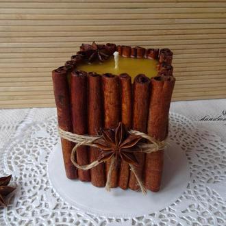 Восковая свеча Корица с эфирным маслом корицы