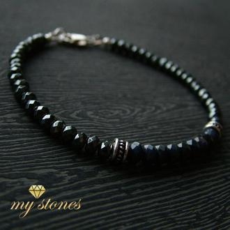 """Мужской браслет из гематита, сапфира и серебра 925 пробы """"Blue shine"""""""