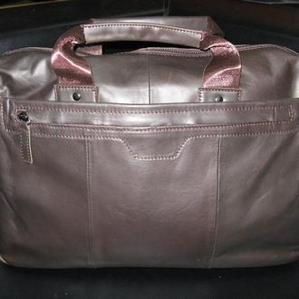 Стильная,модная,презентабельная кожаная коричневая мужская сумка ручной работы