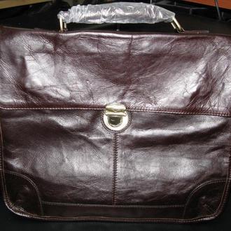 Стильный,модный,винтажный коричневый портфель ручной работы из натуральной кожи