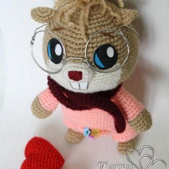 Хомяк в очках  крючком Амигуруми Интерьерная / игровая игрушка Подарок ребенку
