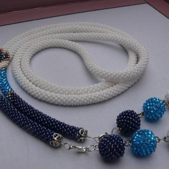 ′Синий иней′ - лариат, украшение, жгут из бисера