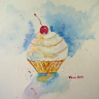 Малюнок тістечко , акварель десерт в кафе