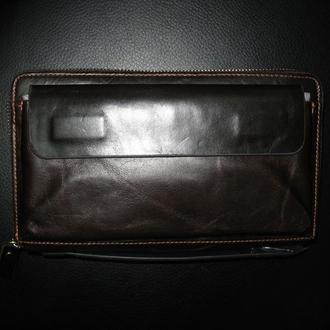Стильный модный мужской кожаный винтажный клатч-барсетка ручной работы