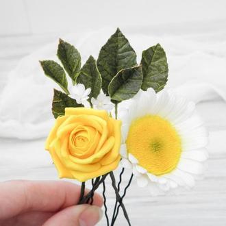 Набор из 4 цветочных шпилек