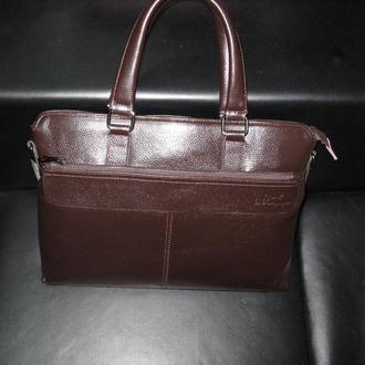 Стильная модная презентабельная мужская сумка ручной работы натуральная кожа шоколадный цвет