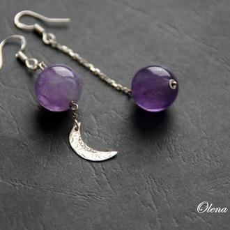"""Асимметричные серебряные серьги с аметистом """"Moon"""""""