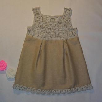 Платье для девочки комбинированное со льном