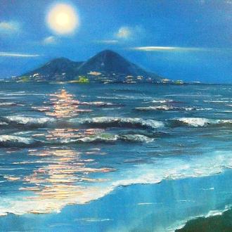 Картина маслом. Неаполь.Вид на Везувий.