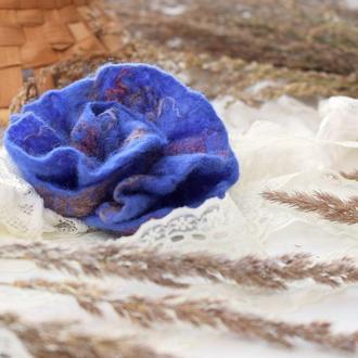 Брошка квітка стильна валяна фіолетова із шерсті брошь цветок ексклюзивний подарунок подарок войлок