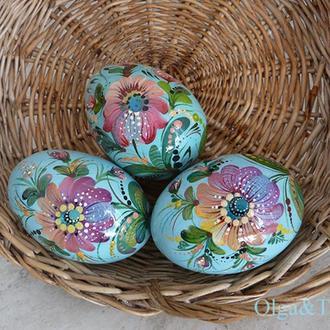 Пасхальные яйца из дерева петриковская роспись.