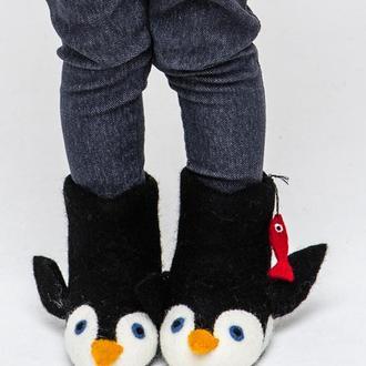 Валяные тапочки Пингвинчики