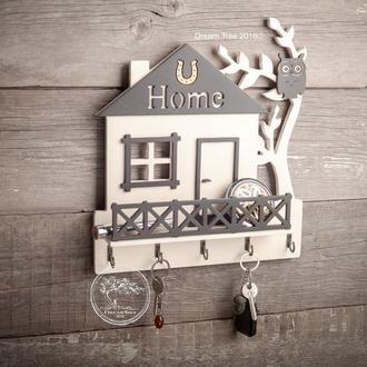 """Ключница """"Крошка-дом"""" слоновая кость+шоколад 30*33 см"""