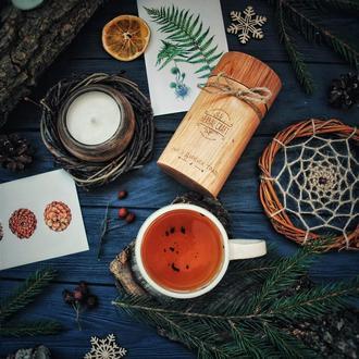 Чай з диких трав у тубусі з натурального дерева