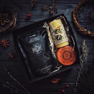 Подарунковий набір HerbalCraft Secret Box (чай з диких трав, свічка, кулон у дерев'яній коробочці)