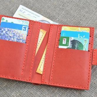 Красивый красный кожаный кошелек K63-580