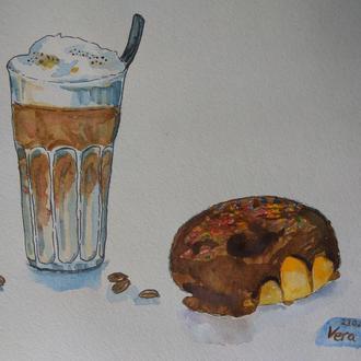 Картина Перерыв на кофе , акварель латте и пончик