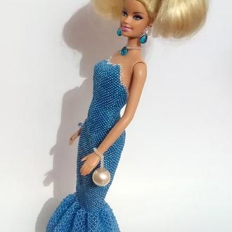 Кукла в платье из бисера