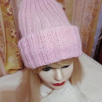 шапочка женская вязаная удлиненная
