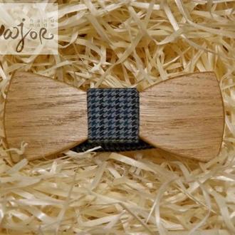 Детская деревянная бабочка Классик синяя гусья лапка