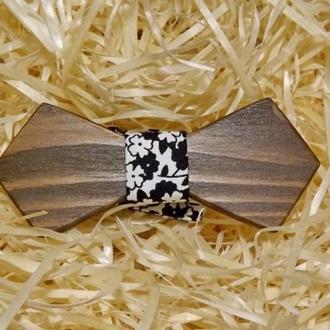 Детская деревянная бабочка Ретро черно-белая с цветочным принтом