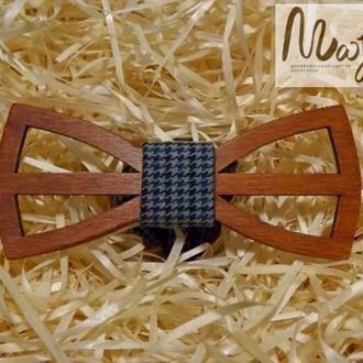 Деревянная бабочка Классик резная бирюзовая гусья лапка