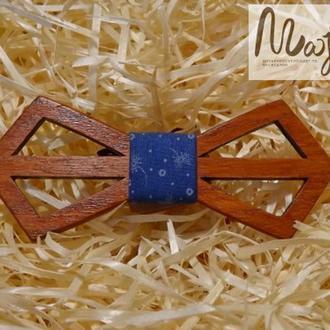 Деревянная бабочка Ретро резная синяя с узором