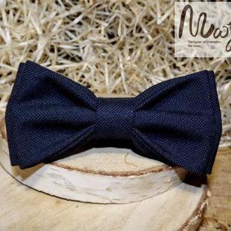 Однотонная шерстяная галстук-бабочка темно-синего цвета Butterfly