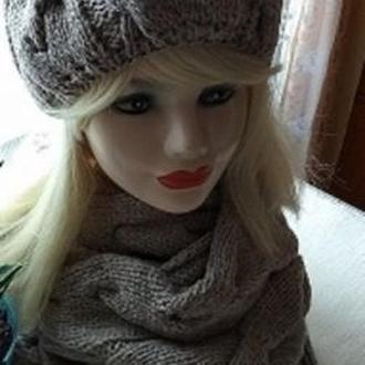 Комплект шапка вязаная косами женская теплая и длинный снуд