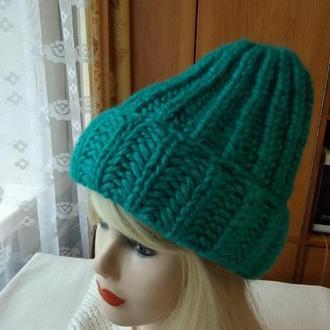 Теплая женская крупной вязки шапка бини-тыковка удлиненная
