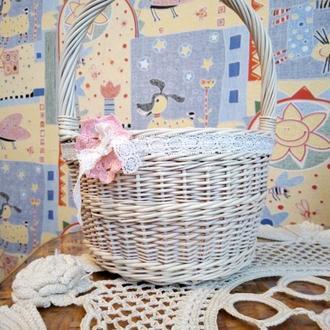 Корзинка детская, корзинка для свадебного декора, корзинка для цветов