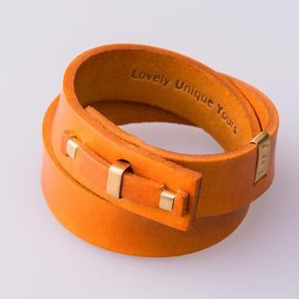 Кожаный браслет LUY N. 1 два оборота (оранжевый). Браслет из натуральной кожи