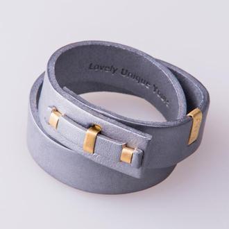 Кожаный браслет LUY N. 1 два оборота (серебро). Браслет из натуральной кожи
