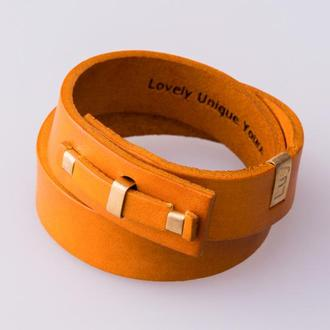 Кожаный браслет LUY N. 1 два оборота (желтый). Браслет из натуральной кожи