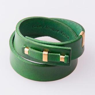 Кожаный браслет LUY N.1 два оборота (зеленый). Браслет из натуральной кожи