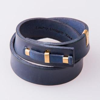 Кожаный браслет LUY N.1 два оборота (синий). Браслет из натуральной кожи