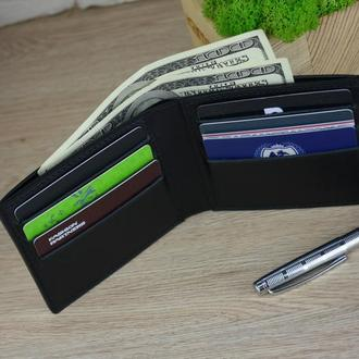 Кожаный портмоне, мужской кожаный портмоне, мужской портмоне, черный кошелек