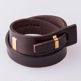 Кожаный браслет LUY N.2 два оборота (коричневый). Браслет из натуральной кожи