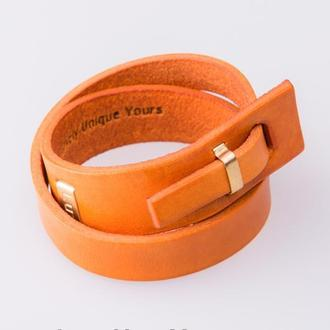 Кожаный браслет LUY N.2 два оборота (оранжевый). Браслет из натуральной кожи