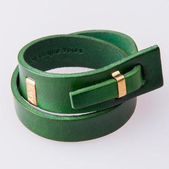 Кожаный браслет LUY N.2 два оборота (зеленый). Браслет из натуральной кожи