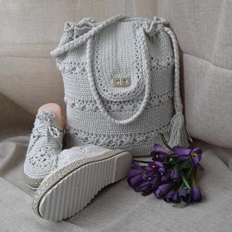 Вязанная сумка торба  Весна -лето- осень