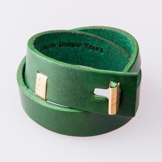 Кожаный браслет LUY N.3 два оборота (зеленый). Браслет из натуральной кожи