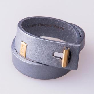 Кожаный браслет LUY N.3 два оборота (серебро). Браслет из натуральной кожи