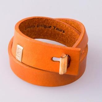 Кожаный браслет LUY N.3 два оборота (оранжевый). Браслет из натуральной кожи