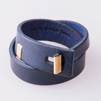 Кожаный браслет LUY N.3 два оборота (синий). Браслет из натуральной кожи