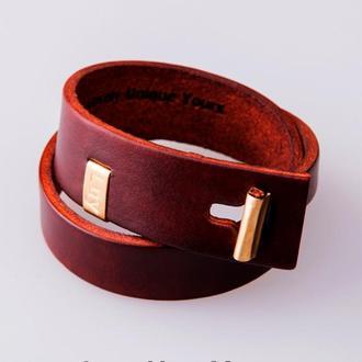 Кожаный браслет LUY N.3 два оборота (махагон). Браслет из натуральной кожи
