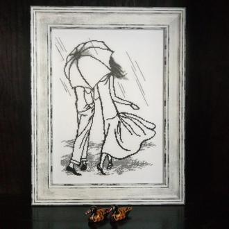 Вышитая картина *Пара под зонтом*, подарок для неё, подарок для девушки